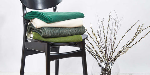 luxury green throws