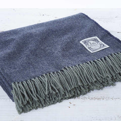 blue merino wool throw