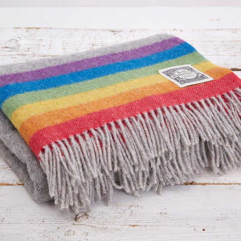 Rainbow Stripe Wool Blanket - Tolly McRae