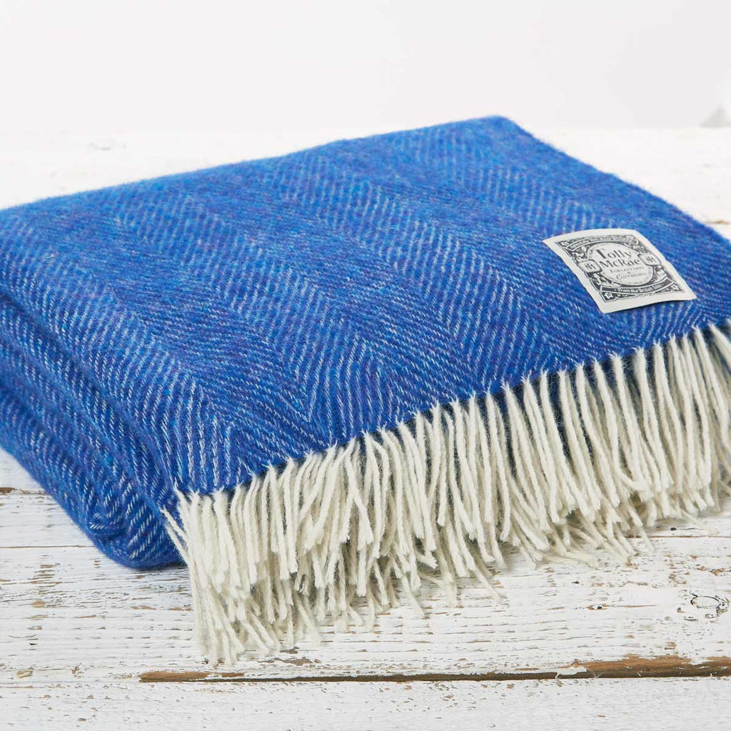 Royal Blue Herringbone Wool Throw - Tolly McRae