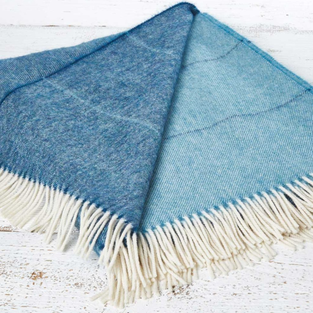 Alpaca Mix Throw Peacock Aqua Ombre - Tolly McRae - 1