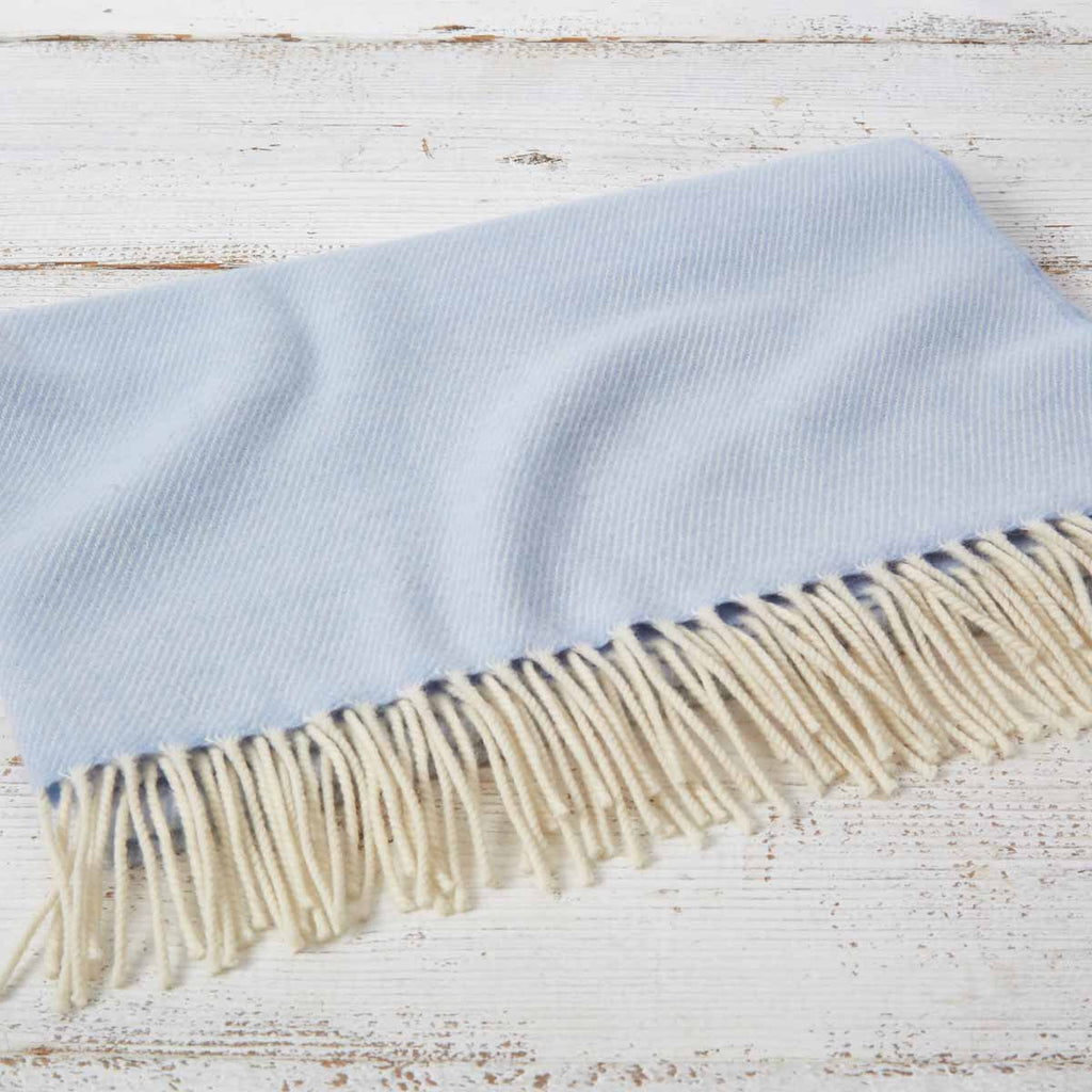 Cashmere Mix Baby Blanket - Baby Blue - Tolly McRae