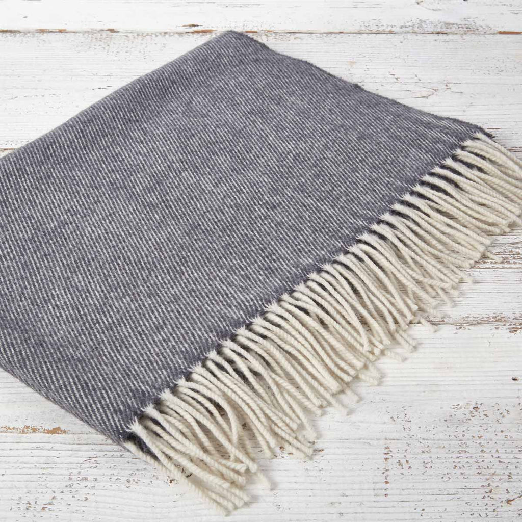 Cashmere Mix Baby Blanket - Charcoal - Tolly McRae