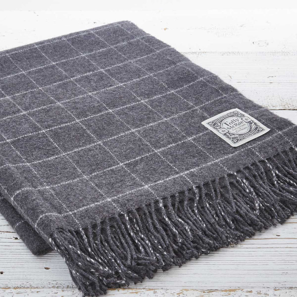 Cashmere Mix Throw Charcoal Check - Tolly McRae