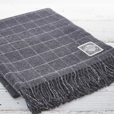 Alpaca Mix Throw Charcoal Check