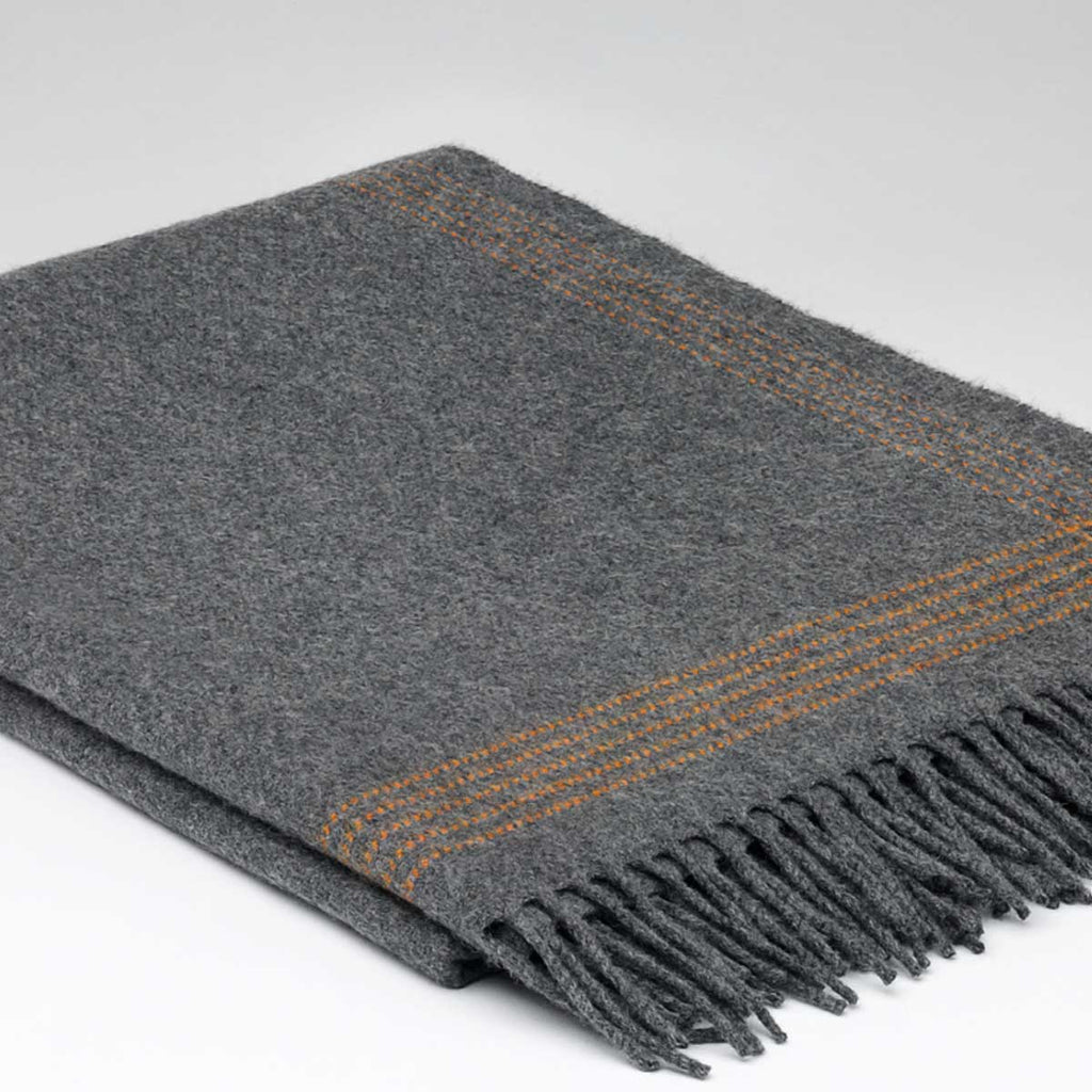 Grey Cashmere Mix Throw with Burnt Orange Edge Detail - Tolly McRae
