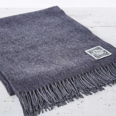 Cashmere Mix Throw Charcoal Grey - Tolly McRae