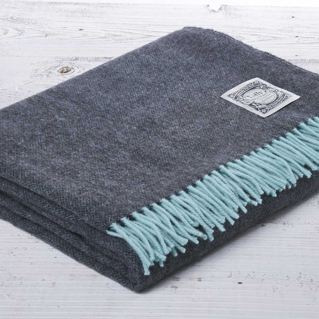 Super Soft Merino Reversible Throw - Slate and Green - Tolly McRae