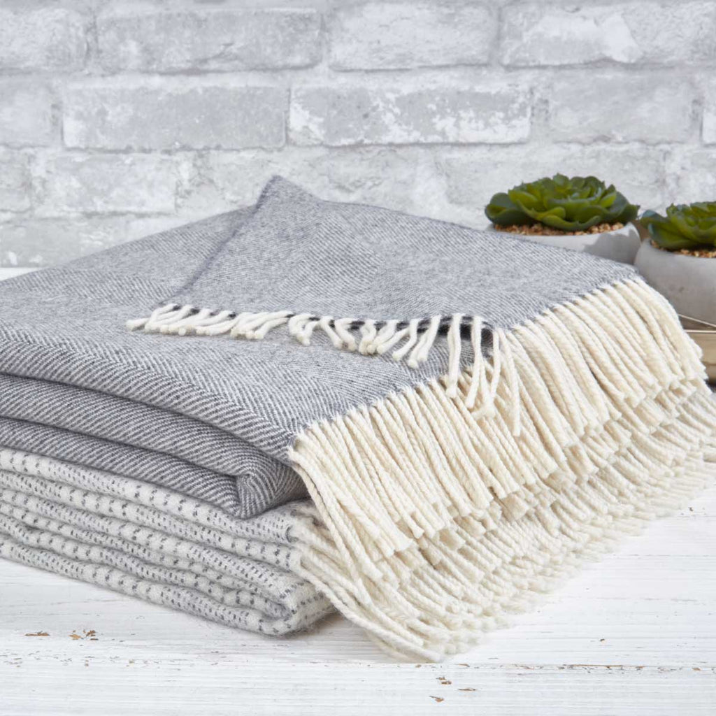 Super Soft Merino Throw - Grey Herringbone - Tolly McRae