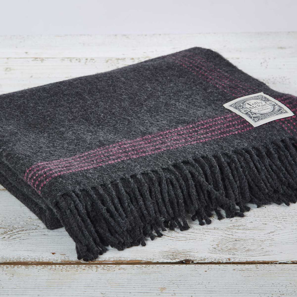 Charcoal Cashmere Mix Throw with Pink Edge Detail - Tolly McRae