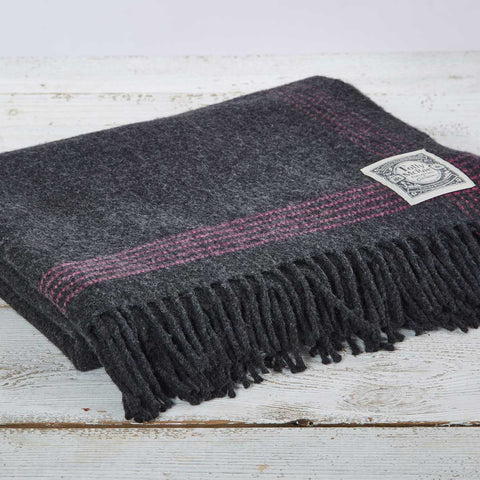 Charcoal Cashmere Mix Throw with Pink Edge Detail