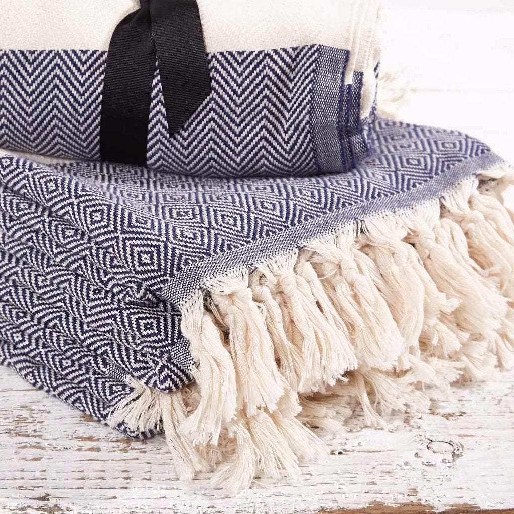 Hammam Towel / Bath Towel - French Navy Blue Geometric - Tolly McRae