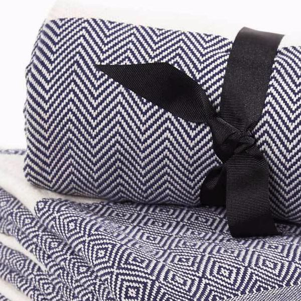 Hammam Towel / Bath Towel - French Navy Blue Herringbone - Tolly McRae