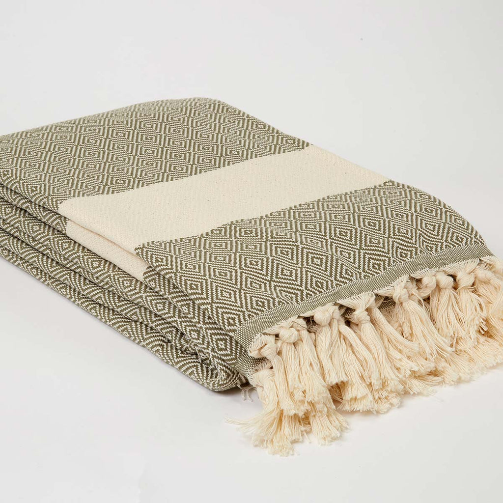 XL Olive Cotton Throw