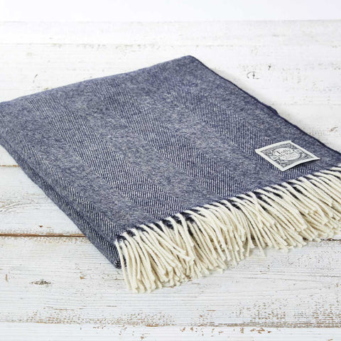 Navy Blue Throw - Hotel Collection Small, Regular, King Size & Super King Throw - Tolly McRae