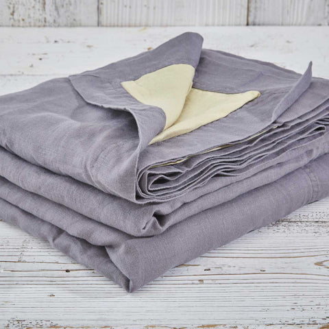 Reversible Linen Throw - Charcoal and Corn