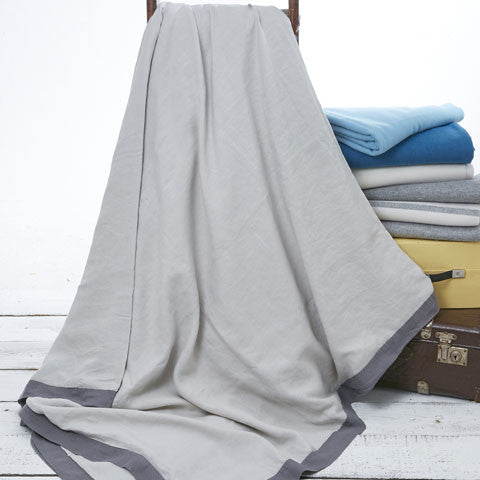 Reversible Linen Throw - Charcoal and Dove Grey - Tolly McRae