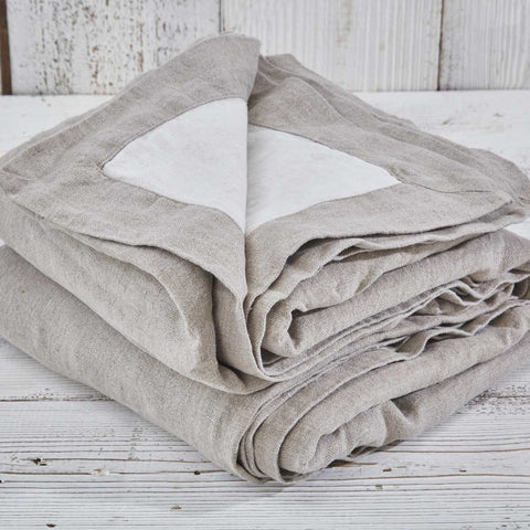 Reversible Heavy Linen Throw - Lime White and Natural Linen