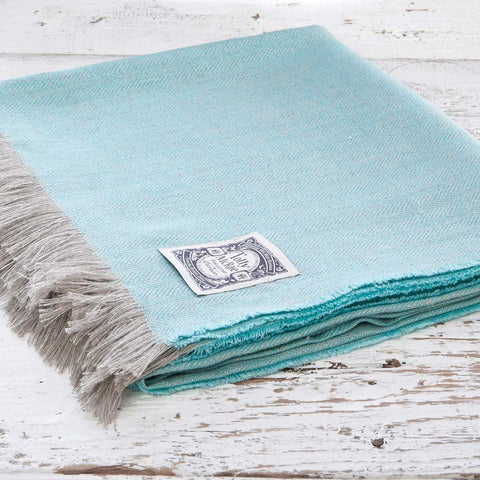 Mint Herringbone Linen Throw - Tolly McRae