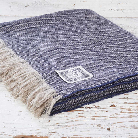 Indigo Blue Herringbone Linen Throw - Tolly McRae