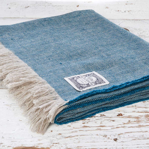 Teal Herringbone Linen Throw - Tolly McRae