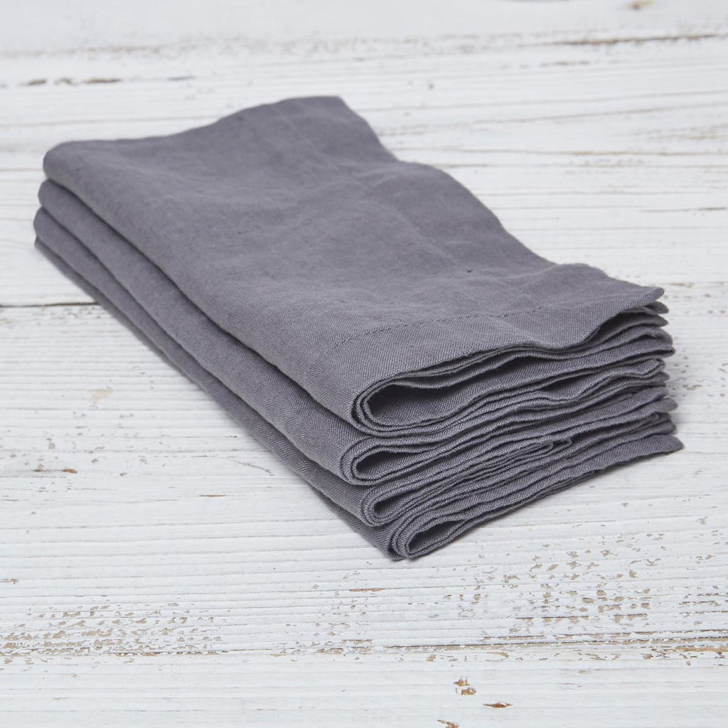 Charcoal Grey Linen Napkins - Set of four in bag - Tolly McRae