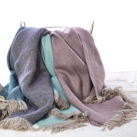 Pure Linen Throw - Heather, Teal, Indigo Blue & Mint Green - Tolly McRae