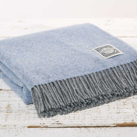 Pale Blue and Grey Reversible Wool Throw