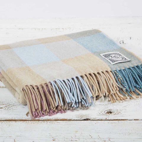 Super Soft Merino Throw - Muted Pastel Check - Tolly McRae