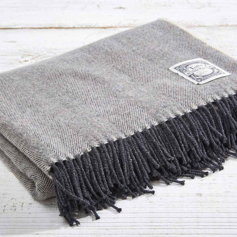 Super Soft Merino Throw - Charcoal Grey Herringbone