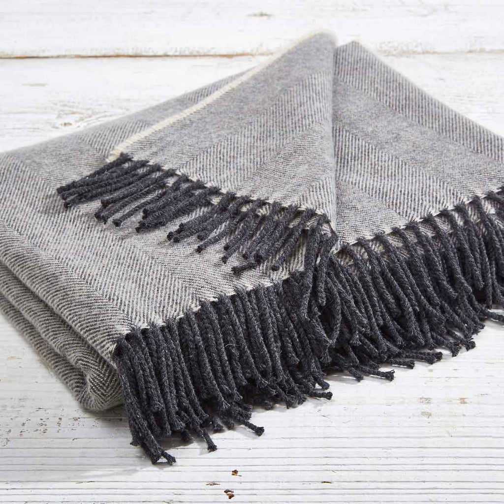 Super Soft Merino Throw - Charcoal Grey Herringbone - Tolly McRae