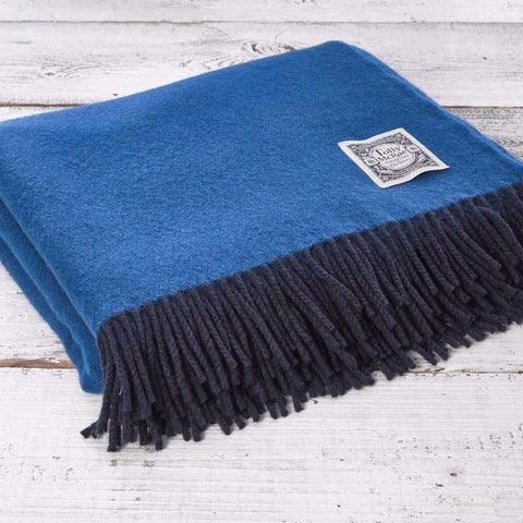 Super Soft Reversible Throw - Cobalt Blue and Navy