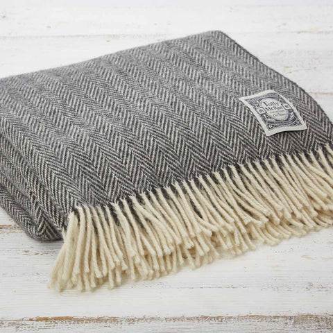 Warm Grey Herringbone Wool Throw