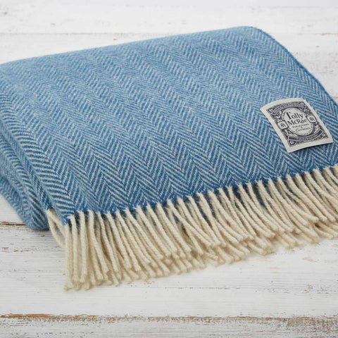 Cornish Blue Wool Throw - Tolly McRae