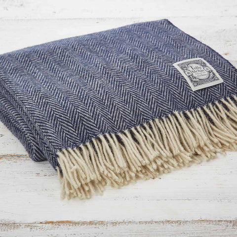 Navy Blue Herringbone Wool Throw - Tolly McRae