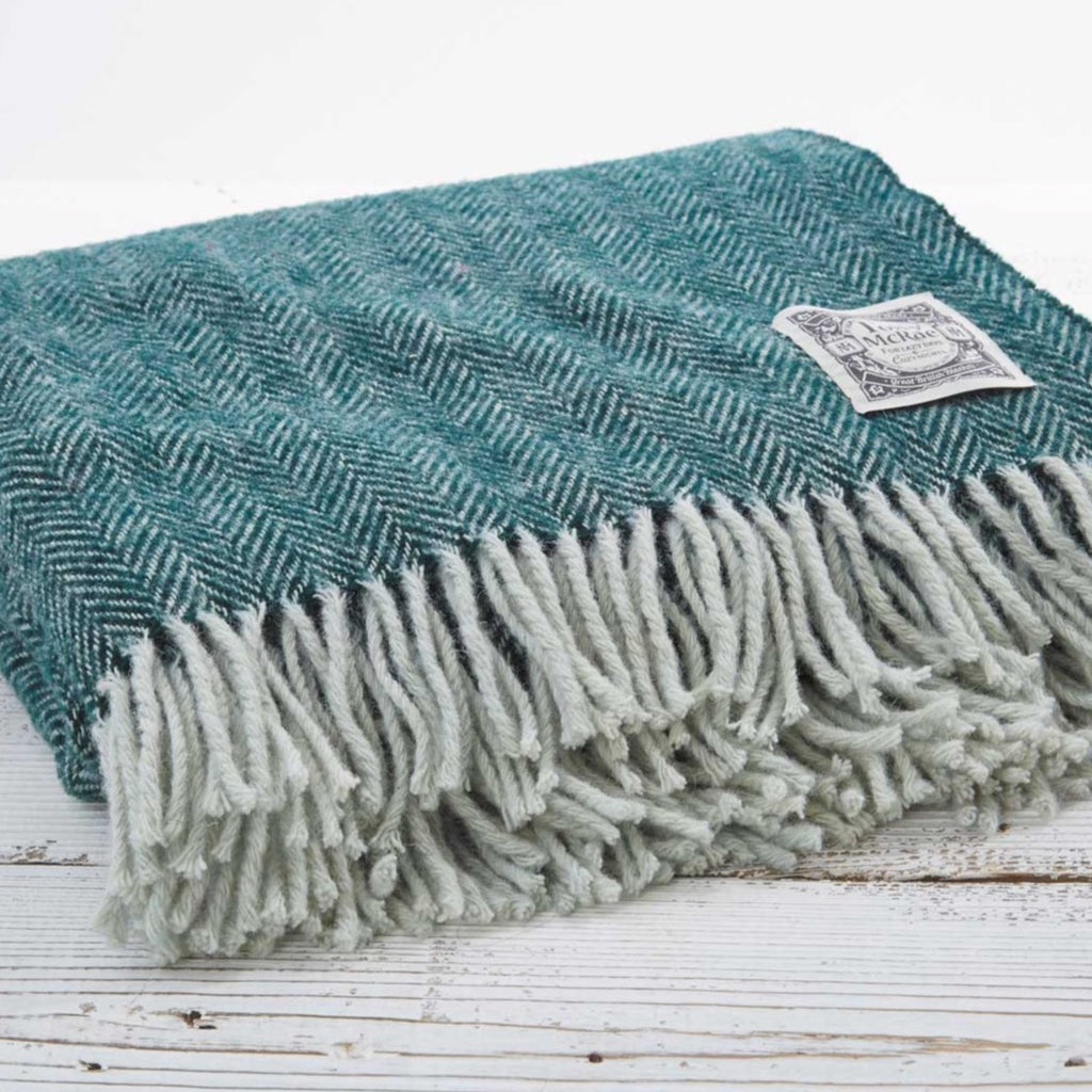 Botanical Green Wool Throw - Tolly McRae