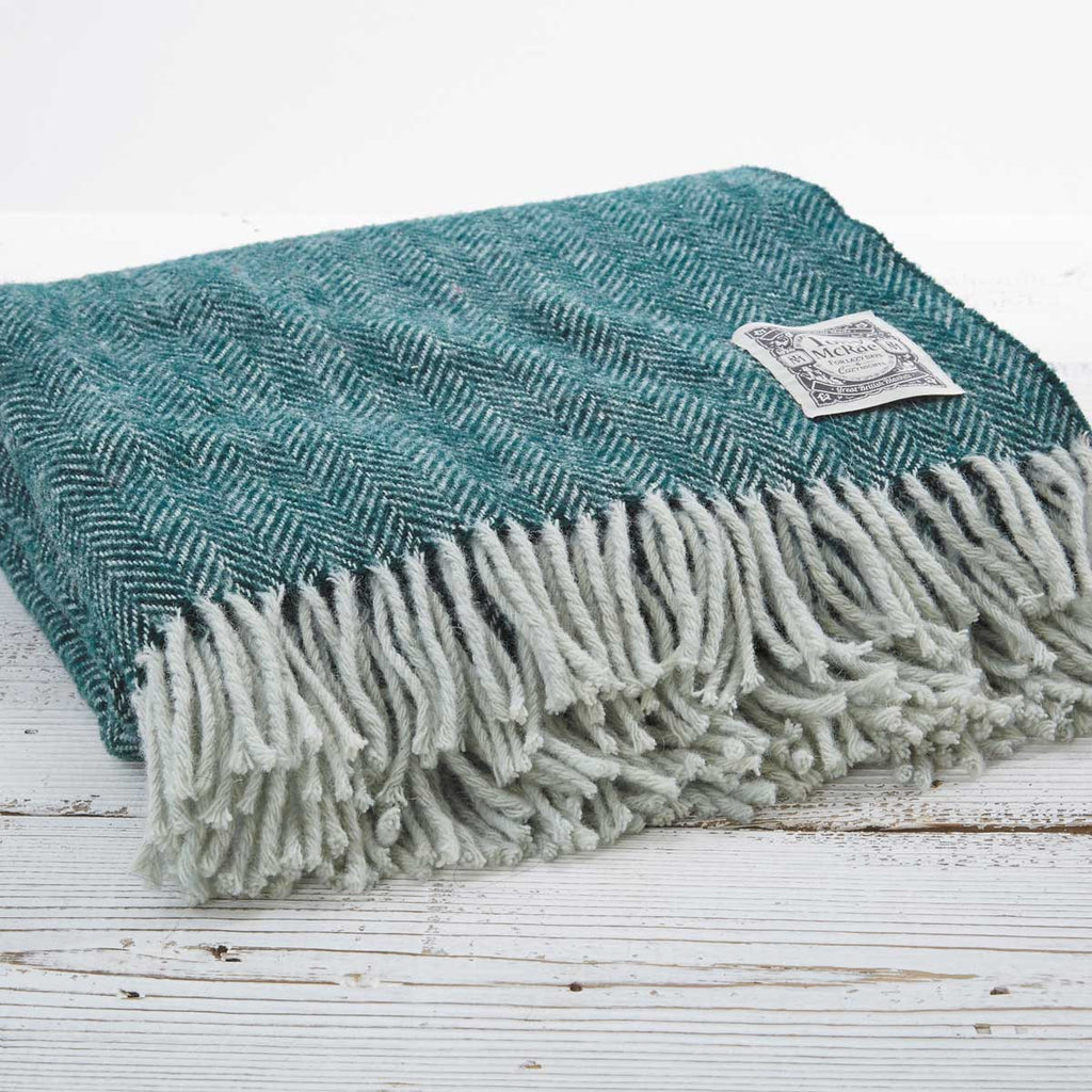 Botanical Green Picnic Rug / Chunky Blanket - Tolly McRae