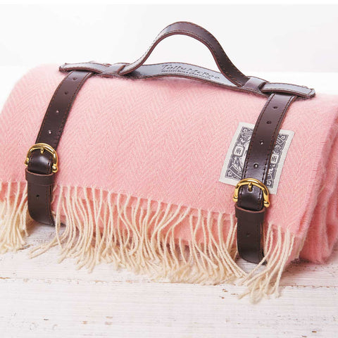 Pink Picnic Rug / Chunky Blanket - Old Rose - Tolly McRae