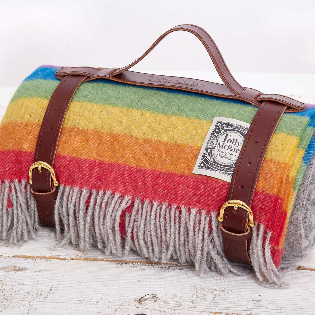 Rainbow Stripe Picnic Rug / Chunky Blanket - Tolly McRae
