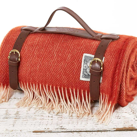 Orange Picnic Rug / Chunky Blanket - The Fox - Tolly McRae