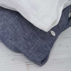 linen duvet sets navy blue white