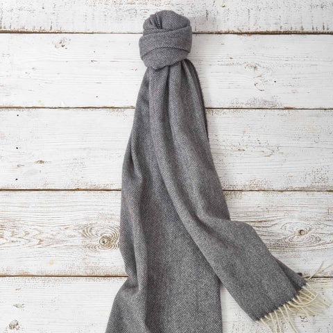 Large Cashmere Mix Scarf - Earl Grey Charcoal - Tolly McRae