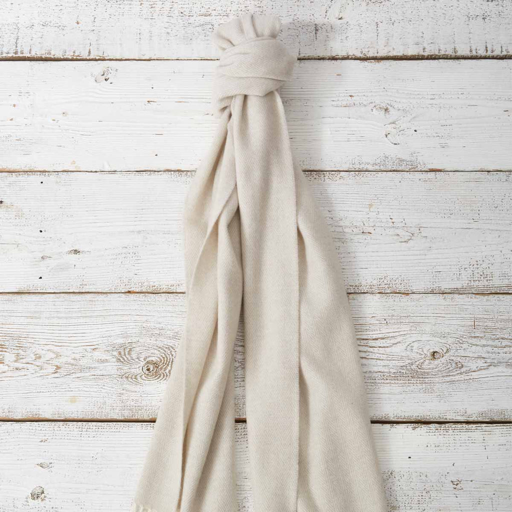 Large Cashmere Mix Scarf - Lime White - Tolly McRae