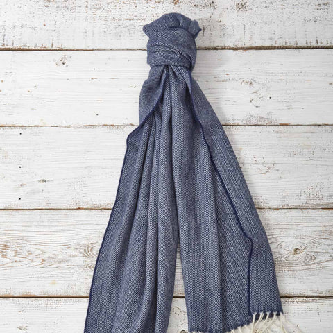 Large Cashmere Mix Scarf - Navy Blue - Tolly McRae