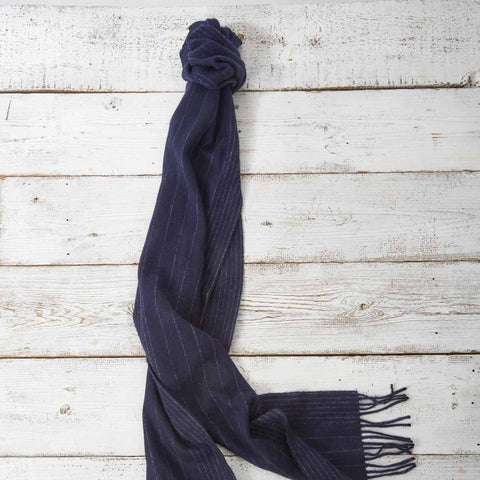 Extra Long Scarf - Navy Blue Pinstripe - Tolly McRae