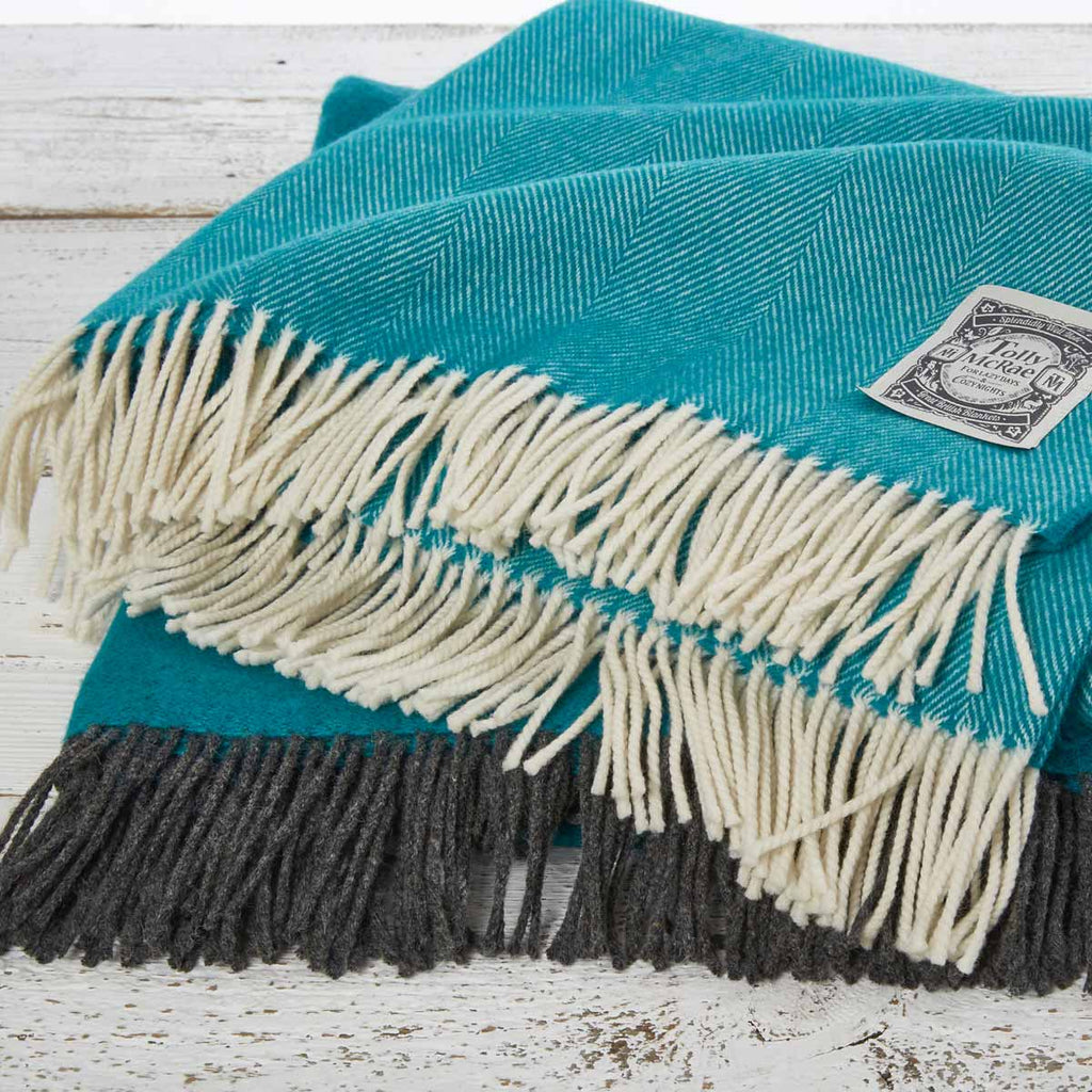 Super Soft Merino Throw - Teal Herringbone - Tolly McRae