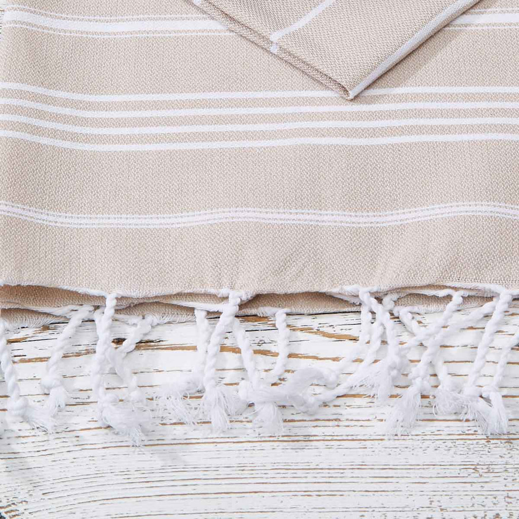 Beige Striped Hand Towel / Kitchen Towel - Tolly McRae