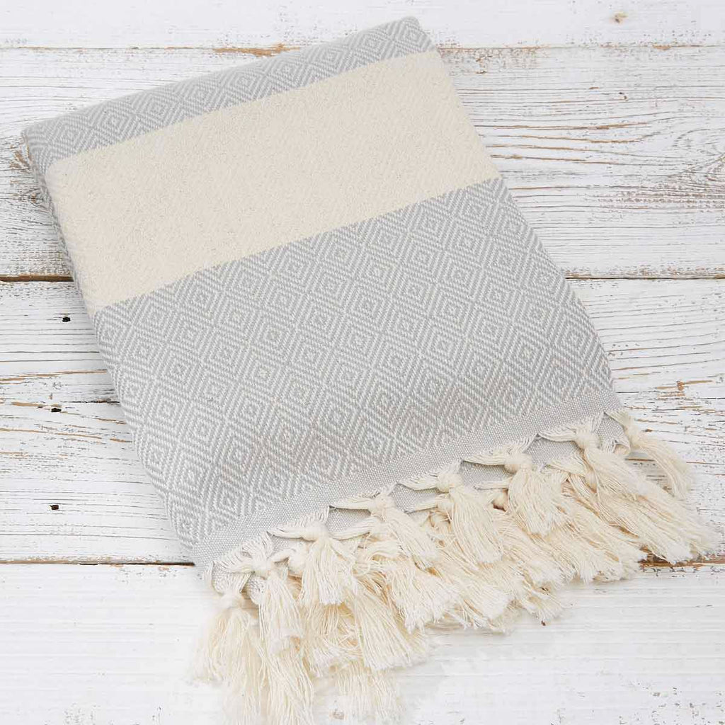 Hammam Towel / Bath Towel - Light Grey Geometric