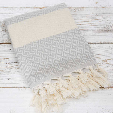 Hammam Towel / Bath Towel - Light Grey Geometric - Tolly McRae