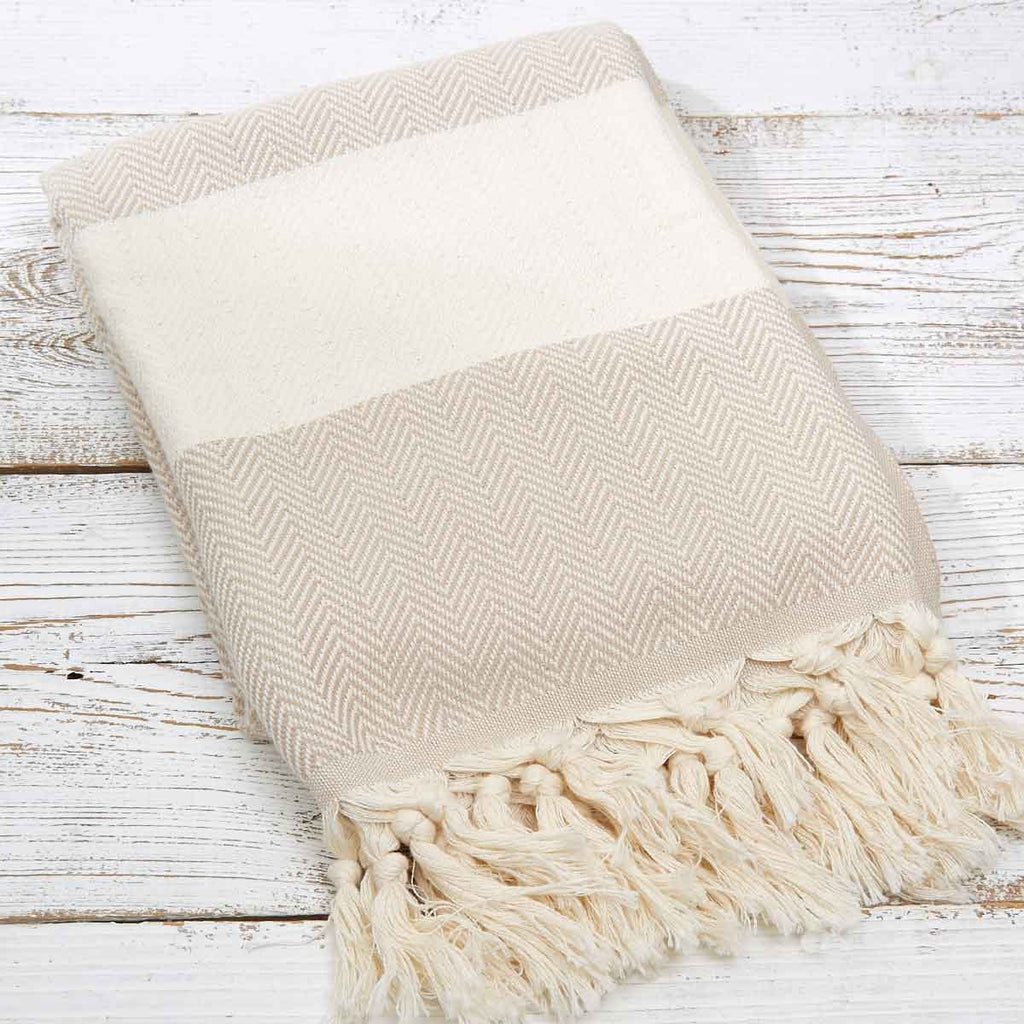 Hammam Towel / Bath Towel - Beige Herringbone - Tolly McRae